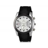 VALIA  8136 мужские модные Аналоговый кварцевый водостойкой наручные часы с функцией календаря и ТПУ резинкой (белый)