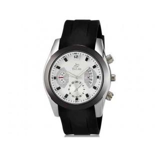 Валя 8136 Мужская модная Аналоговый кварцевый водостойкой наручные часы с функцией календаря и ТПУ резинкой (белый)