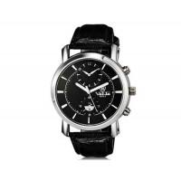 VALIA  8603-2 мужские модные аналоговый двойного набора водостойкой наручные часы с Faux кожаный Band (черный)