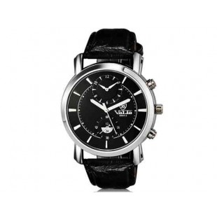 Валя 8603-2 Мужская модная аналоговый двойного набора водостойкой наручные часы с Faux кожаный Band (черный)