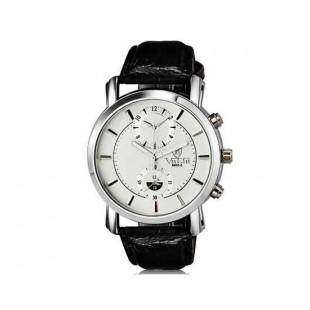 Валя 8603-2 Мужская модная аналоговый двойного набора водостойкой наручные часы с Faux кожаный Band (белый)