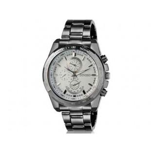 DINIHO 8014G Мужская модная Аналоговый Простой стиль нержавеющей стали наручные часы с нержавеющей стальной лентой (белый)