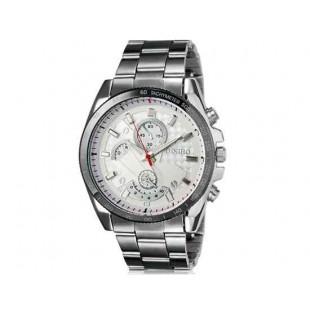 DINIHO 8013G Мужская модная Простой стиль аналоговые наручные часы с нержавеющей стальной лентой (белый)