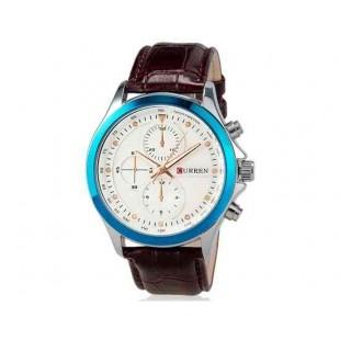 Curren 8138 Мужская модная водостойкой наручные часы с Faux кожаный оркестра (белый)