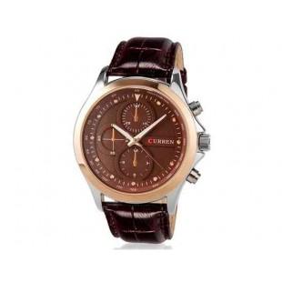 CURREN 8138 Мужская модная водостойкой наручные часы с искусственной кожи оркестра (коричневый)