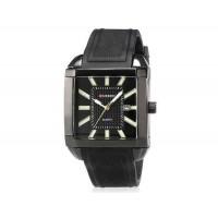 Curren 8145 мужские модные Квадрат Дизайн водостойкой кварцевые наручные часы с функцией календаря и ТПУ резинкой (черный)