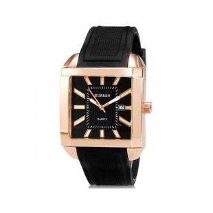 Curren 8145 Мужская модная Квадрат Дизайн водостойкой кварцевые наручные часы с функцией календаря и ТПУ Резиновая лента (Золотой)