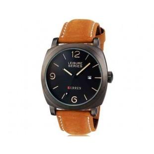 Curren 8158  водостойкие наручные часы с функцией календаря кожаным ремешком