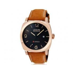 Curren 8158 Мужские Модные водостойкой наручные часы с функцией календаря и искусственной кожаный ремешок (Golden)