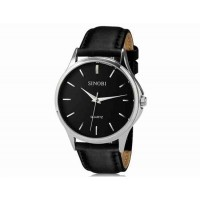 SINOBI S8102 мужские кварцевые наручные часы с кожаным ремешком (черный)