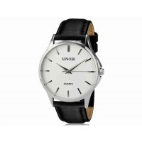 SINOBI S8102 мужские кварцевые наручные часы с кожаным ремешком (белый)
