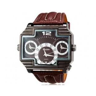 OULM 3296 Мужские Три Движения Японии Движение Кварцевые аналоговые наручные часы (коричневый)