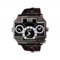 OULM 3296 Мужские Япония Движение Три движения Кварцевые аналоговые наручные часы (черный)