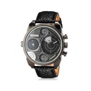 OULM 9316 Мужские Двойные Движения Японии Движение Кварцевые аналоговые наручные часы (черный)