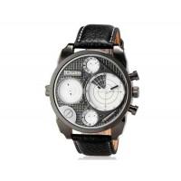 OULM 9316 Мужские Двойные Движения Японии Движение Кварцевые аналоговые наручные часы (белый)