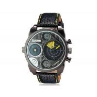 OULM 9316 Мужские Двойные Движения Японии Движение Кварцевые аналоговые наручные часы (желтый)