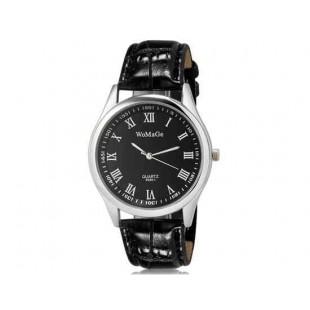 WoMaGe 9595-1 Женские Аналоговые кварцевые наручные часы с римскими цифрами и искусственной кожаный ремешок (черный)