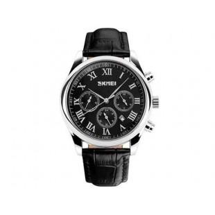 SKMEI 9078 мужские водонепроницаемые наручные часы кожаный ремешок (черные)