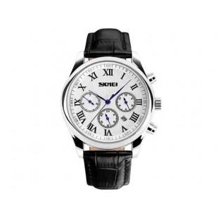Наручные часы Skmei 9078 кожаный ремешок (белый)