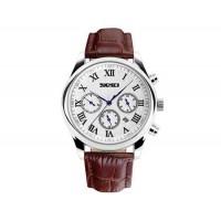 SKMEI 9078 мужские модные 3 циферблата Водонепроницаемые наручные часы  (коричневый)