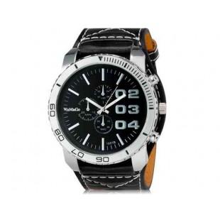 WoMaGe 1091B Unisex модно Большой набор аналоговых спортивные часы наручные часы с широким искусственного кожаный ремешок (черный)