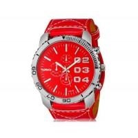 WoMaGe 1091B мужские модно Большой циферблат аналогового спортивные часы наручные часы с широким искусственного кожаный ремешок (красный)