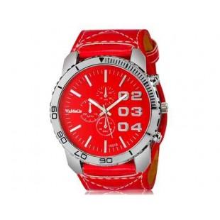 WoMaGe 1091B Мужская модно Большой циферблат аналогового спортивные часы наручные часы с широким искусственного кожаный ремешок (красный)