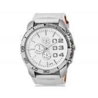 WoMaGe 1091B мужские модно Большой циферблат аналогового спортивные часы наручные часы с широким искусственного кожаный ремешок (белый)