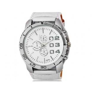 WoMaGe 1091B Мужская модно Большой циферблат аналогового спортивные часы наручные часы с широким искусственного кожаный ремешок (белый)