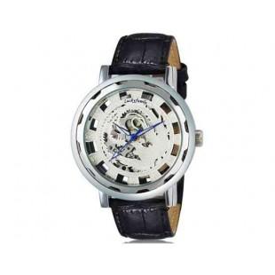Luckyfamily Потрясающие Phoenix Pattern выдалбливают Дизайн Мужская Автоматическая Механическая Водонепроницаемые наручные часы с (серебро)