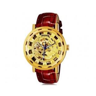 Luckyfamily Потрясающие Phoenix Pattern выдалбливают Дизайн Мужская Автоматическая Механическая Водонепроницаемые наручные часы с (коричневый)