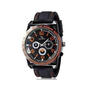 V6 0213 Super Speed Мужская Потрясающие Большой цифровые весы 3-Dial аналоговые наручные часы (красный)