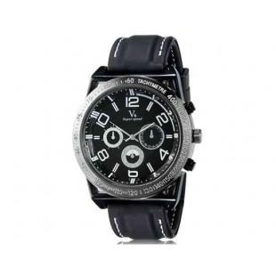 V6 0213 Super Speed Мужская Потрясающие Большой цифровые весы 3-Dial аналоговые наручные часы (белый)