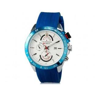 Curren 8148 Мужские модные водостойкой наручные часы с функцией календаря и силиконовой лентой (синий)