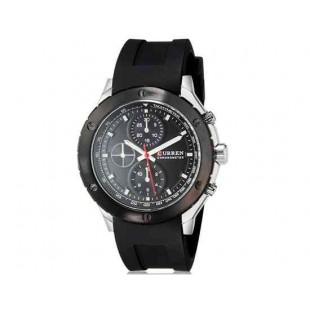 CURREN 8165 Мужская аналоговые наручные часы с силиконовой лентой (черный)