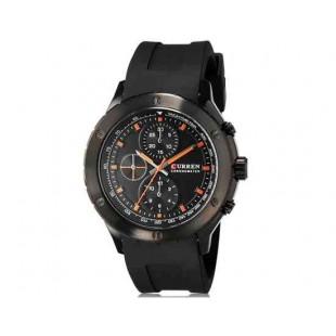 CURREN 8165 Мужская аналоговые наручные часы с силиконовой лентой (черный + оранжевый)