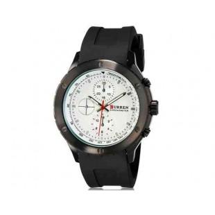 CURREN 8165 Мужская аналоговые наручные часы с силиконовой лентой (черный + белый)