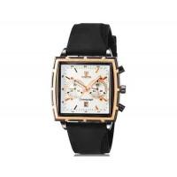 VALIA  мужские модные Квадрат Дизайн аналоговые наручные часы с функцией календаря и силиконовой лентой (черный)