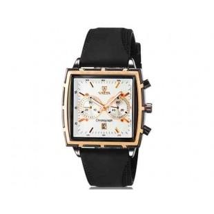 Валя Мужская модная Квадрат Дизайн аналоговые наручные часы с функцией календаря и силиконовой лентой (черный)