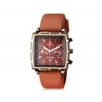 VALIA  мужские модные Квадрат Дизайн аналоговые наручные часы с функцией календаря и силиконовой лентой (коричневый)