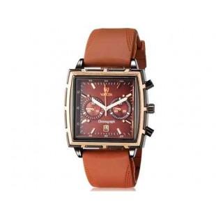 Валя Мужская модная Квадрат Дизайн аналоговые наручные часы с функцией календаря и силиконовой лентой (коричневый)
