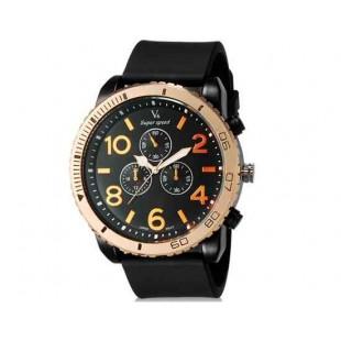 V6 Super Speed V0166 Мужская модная Аналоговый Большой набор Большой арабскими цифрами наручные часы с ТПУ резинкой (черный)