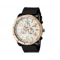 V6 Super Speed V0166 мужские модные Аналоговый Большой набор Большой арабскими цифрами наручные часы с ТПУ резинкой (черный + белый)