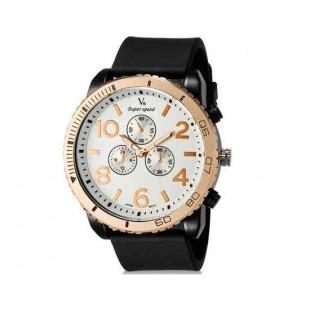 V6 Super Speed V0166 Мужская модная Аналоговый Большой набор Большой арабскими цифрами наручные часы с ТПУ резинкой (черный + белый)