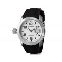 CURREN 8173 Men`s круглый Циферблат аналоговые наручные часы с календарем (белый+черный)