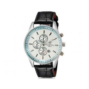 VALIA 8269-1 Men`s модные аналоговые наручные часы с календарем (черный+белый)