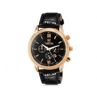 VALIA 8601-1 Men`s модные аналоговые наручные часы с календарем (черный)