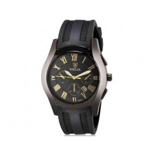 VALIA 8263-1 модная мужская круглый Циферблат аналоговые наручные часы с календарем (черный)