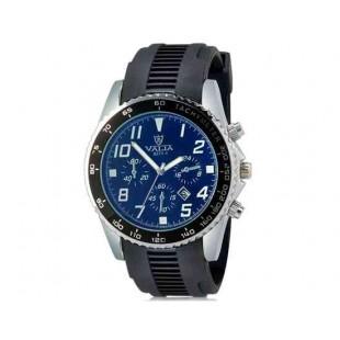VALIA 8271-1 Men`s Модный большой круглый Циферблат аналоговые наручные часы с календарем (черный)