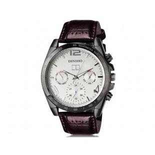 DINIHO 8013G Мужская модная Круглый циферблат аналогового наручные часы с PU Группа